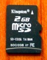 Kingston carte mémoire microSD 2 Go