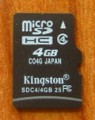Kingston carte mémoire micro SDHC 4 Go